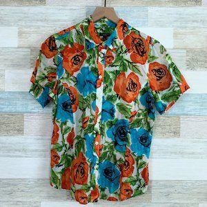 Talbots Bold Floral Shirt Orange Blue Sheer